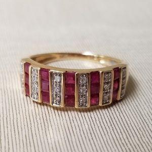 Macy's 14k Gold 3 Row Ruby and Diamond Ring